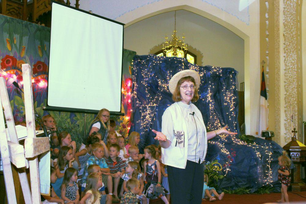 Pastor Karen Tamorria, Bible School program, June 2014.