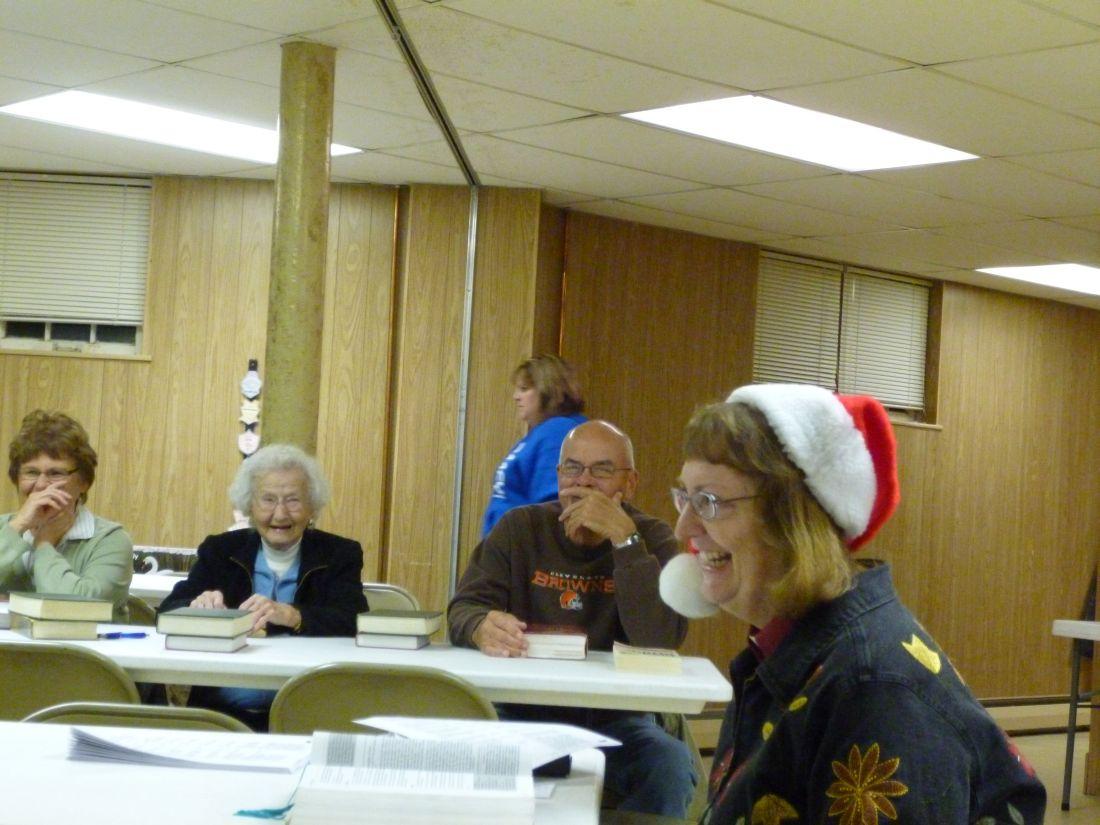 Pastor Tamorria leading Christmas Bible Study, Nov 2014.