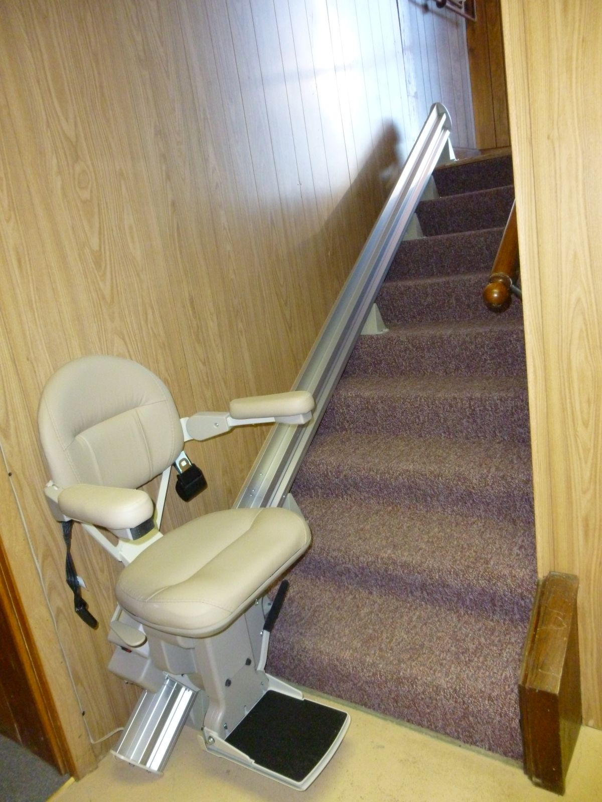New stair lift going to basement.
