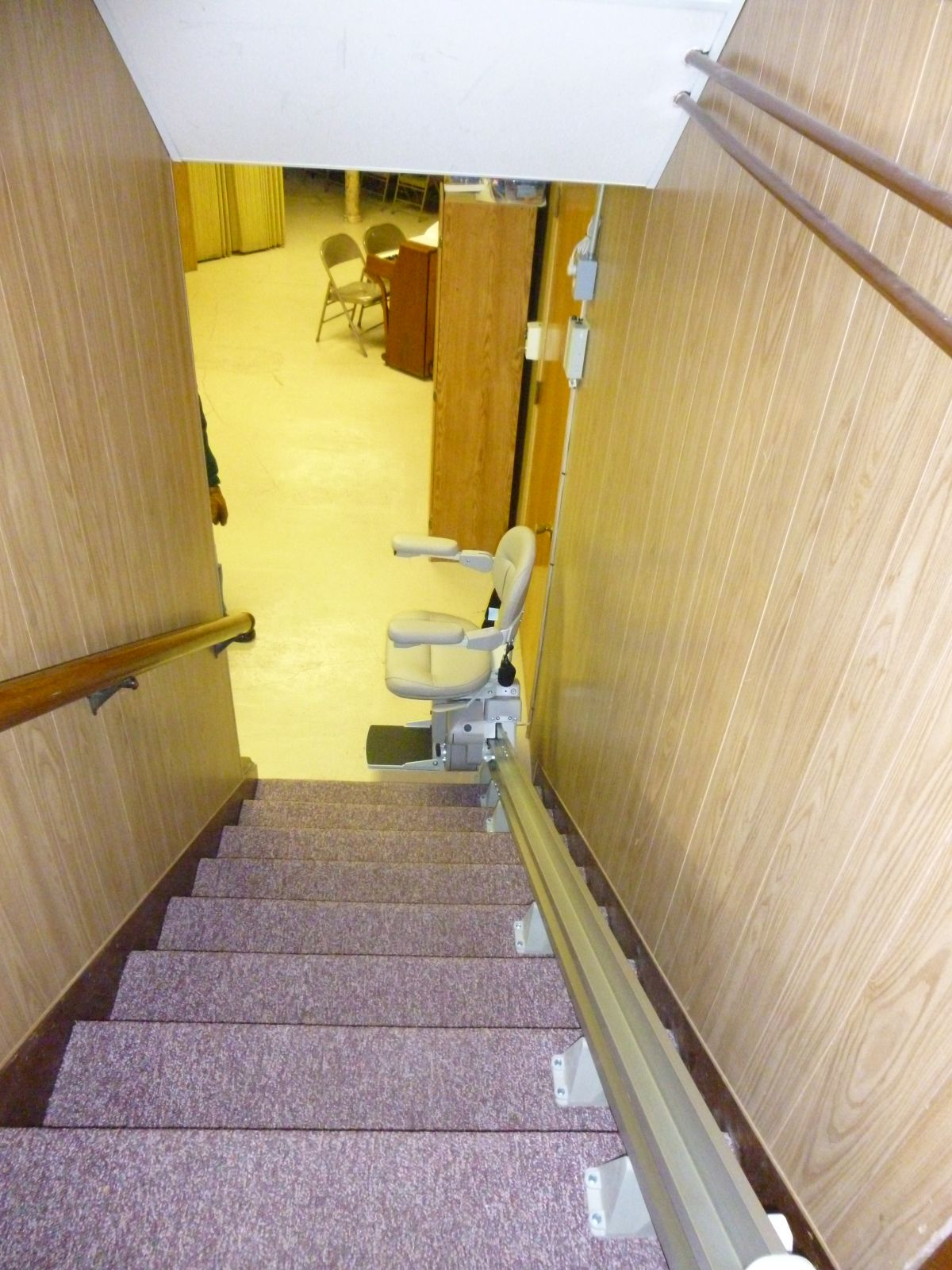 New stair lift going to basement. (Feb 2015)