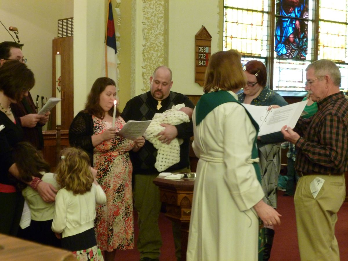 Alexander White baptism. (8 Feb 2015 photo by Karen)