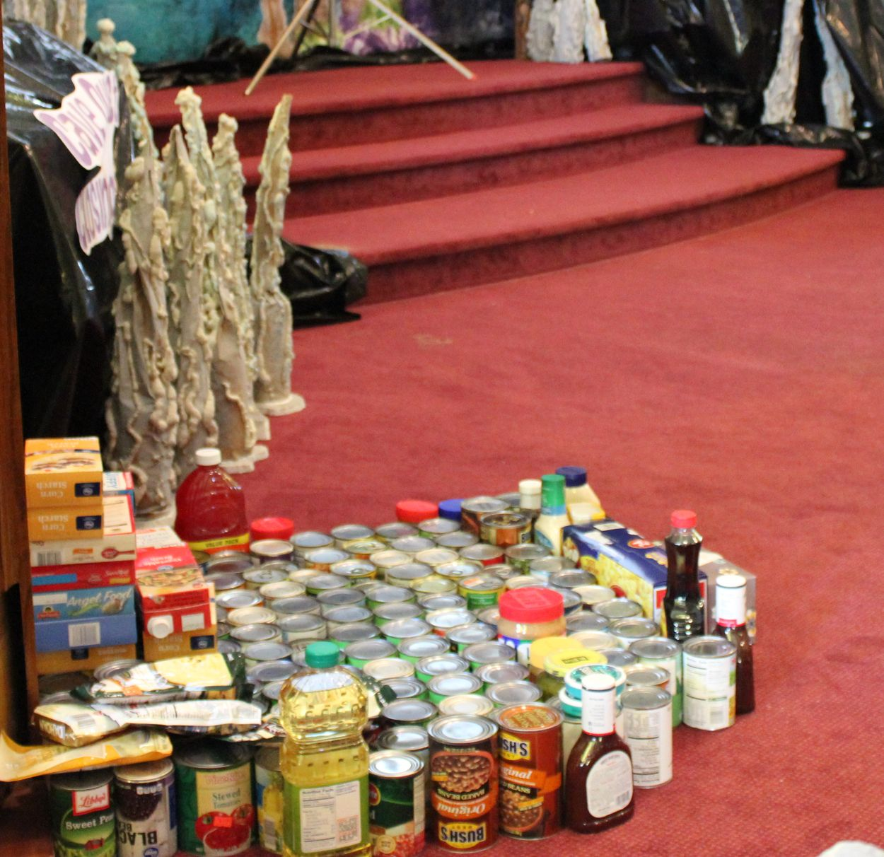 Food donations gathered at 2016 Bible School.