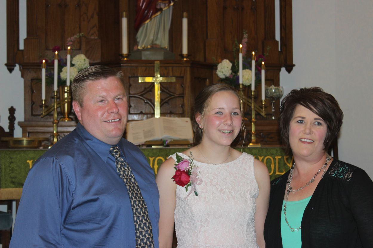 Confirmation, 29 May 2016. Sophia Miller & parents Lynne & Kendra.