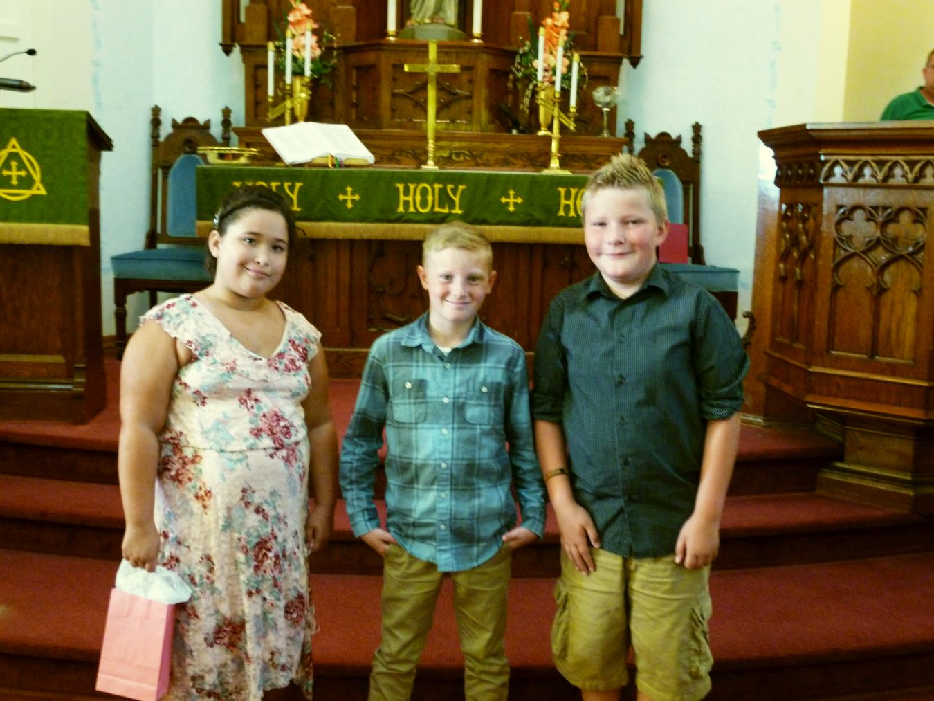 First Communion, Ally, Ayden, Drew, 19 Aug 2018.