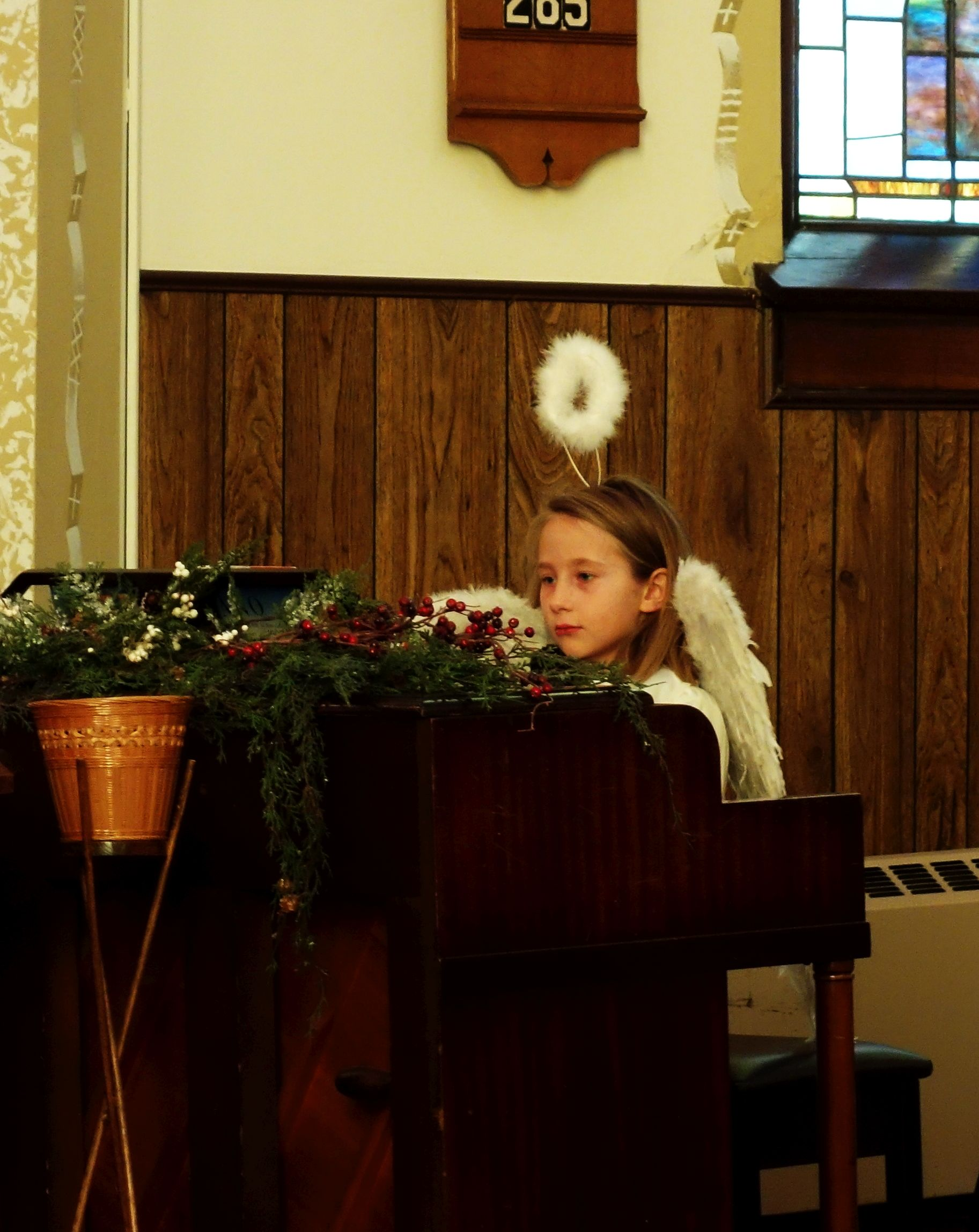 Mia plays a piano solo. Sunday School Christmas Program, 2019.